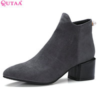 QUTAA 2018 Women Ankle Boots Flock Fashion Square High Heel Pointed Toe All Match Zipper Deisgn