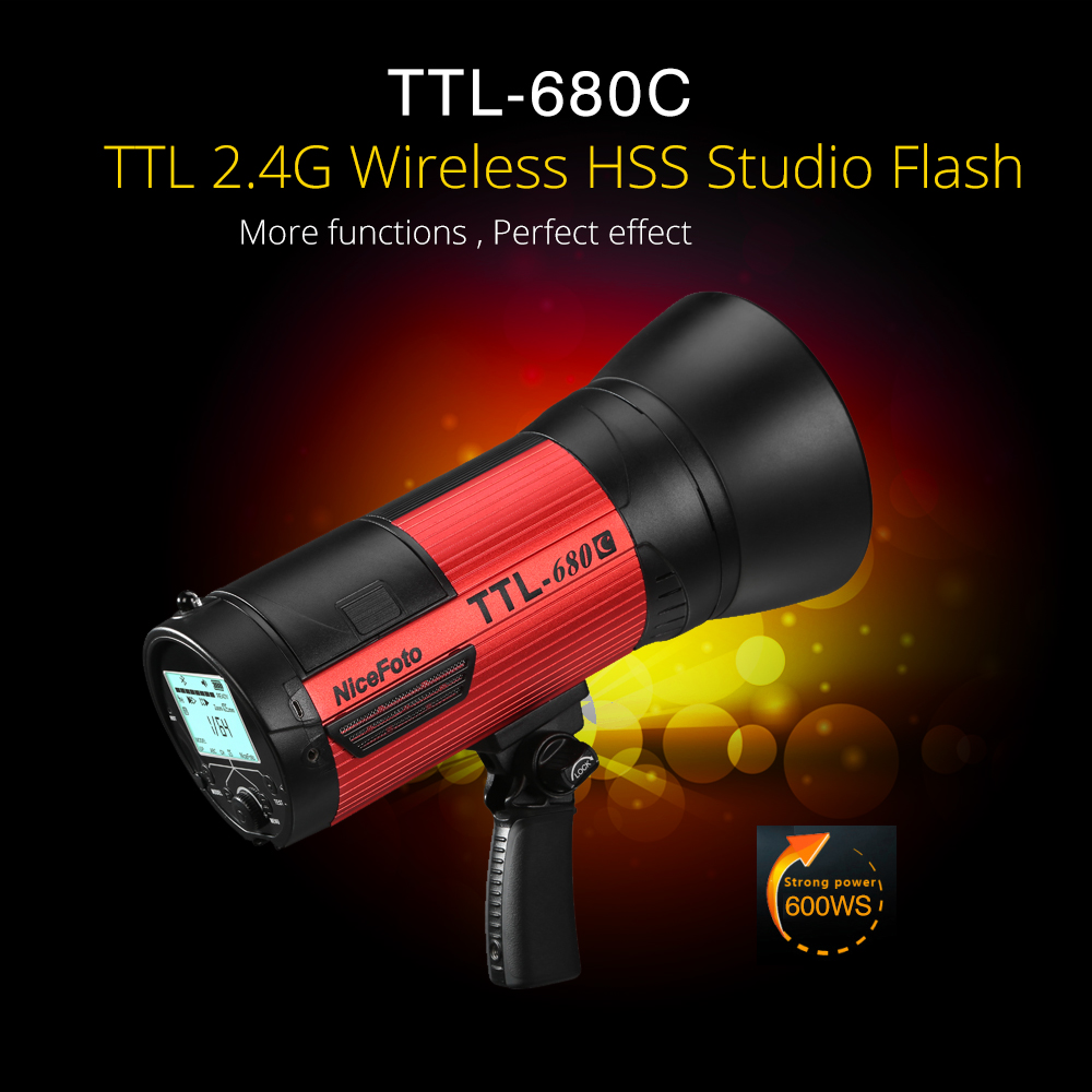 NiceFoto TTL-680C 600W TTL 2.4G Wireless GN68 HSS 1/8000S Studio Flash High Speed Speedlite with Transmitter for Canon Camera nicefoto k8 800ws gn103 ttl hss 1 8000s 2 4g wireless battery powered flash 1 8s fast recycling for canon nikon dslr cameras