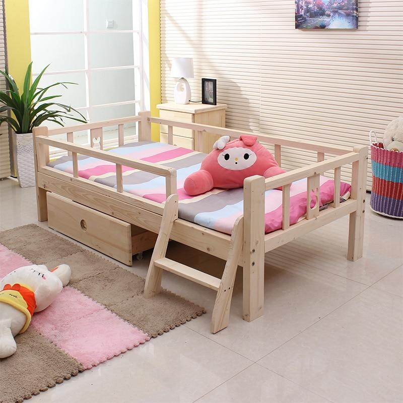 Los ni os cama de madera de madera de color doble muchacho for Muebles y camas infantiles