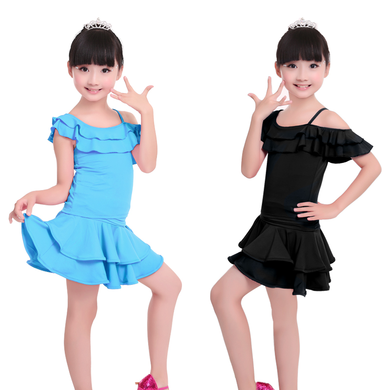Otroške Otroške Latinske plesne obleke Dekleta Latino Tops s krilo 2 kosi Set Dance Practice Kostumi za Latino