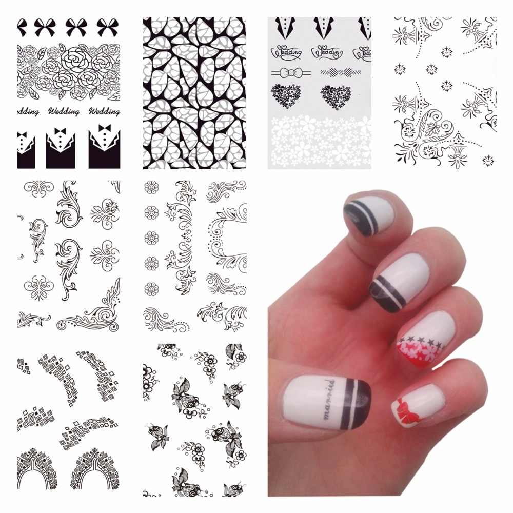 WUF 1 Pc Optional Black Lace Flower Nail Stickers Beauty Nail Art Water Decal Decorations Sticker On Nails Accessories