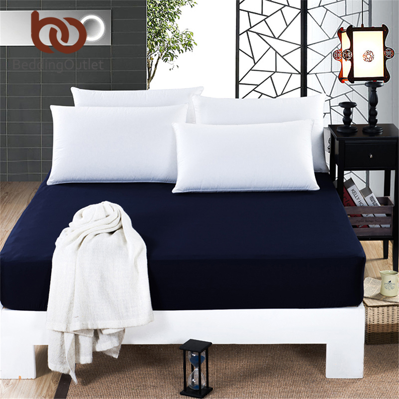 BeddingOutlet Mattress Cover Fitted Sheet Bedding <font><b>Bed</b></font> Sheet Bedding Solid Color Navy Blue Mattress Protector Cotton 3 Size