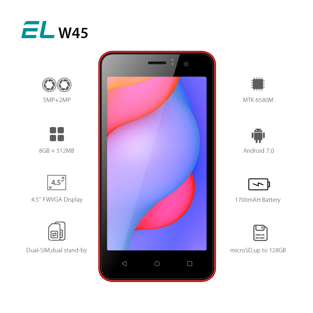 E&L EL W45 3G SmartPhone 4.5 FWVGA Screen MTK6580 Quad Core 512MB RAM 8GB ROM Android 6.0 5.0MP+2MP GPS Dual Sim Mobile Phone