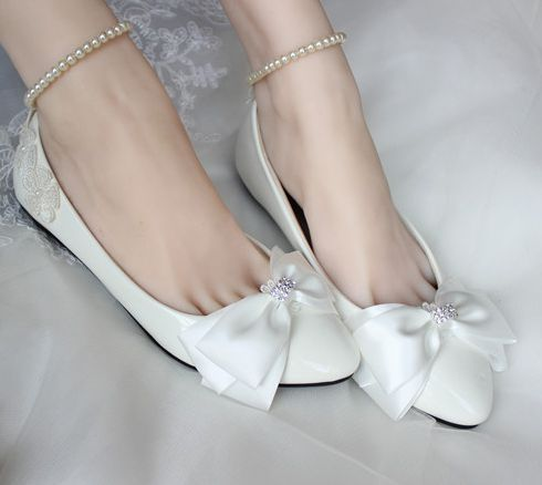 Plus sizes Flat heel bow bowknot wedding shoes for women white ankle beading pearls bracelets comfortable brides bridal shoes bow wedding shoes brides pumps shoes ankle beading pearls straps tg257 comfortable low high heels bridal shoes white with bowtie