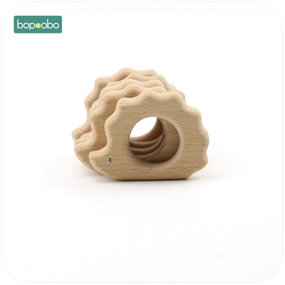 Bopoobo Baby Wooden Teether 1pc Chew Beech Wooden Hedgeho DIY Crafts Accessories Nursing Teething Bracelet Baby Teether