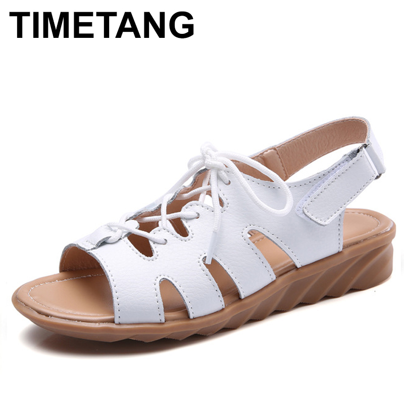 TIMETANG Women Gladiator Sandals Shoes Genuine Leather Lace Up Flat Heels Sandals Ladies Casual Summer Shoes Women Beach Sandals drkanol women sandals 2018 genuine leather flat gladiator sandals for women summer casual shoes peep toe slip on vintage sandals