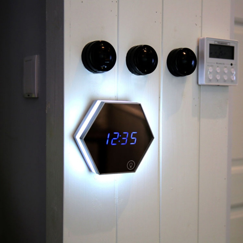 LED Mirrored Alarm Clock With Night Light Date Temperature Display Energy Saving Rechargeable Wall-mounted Alarm Clock