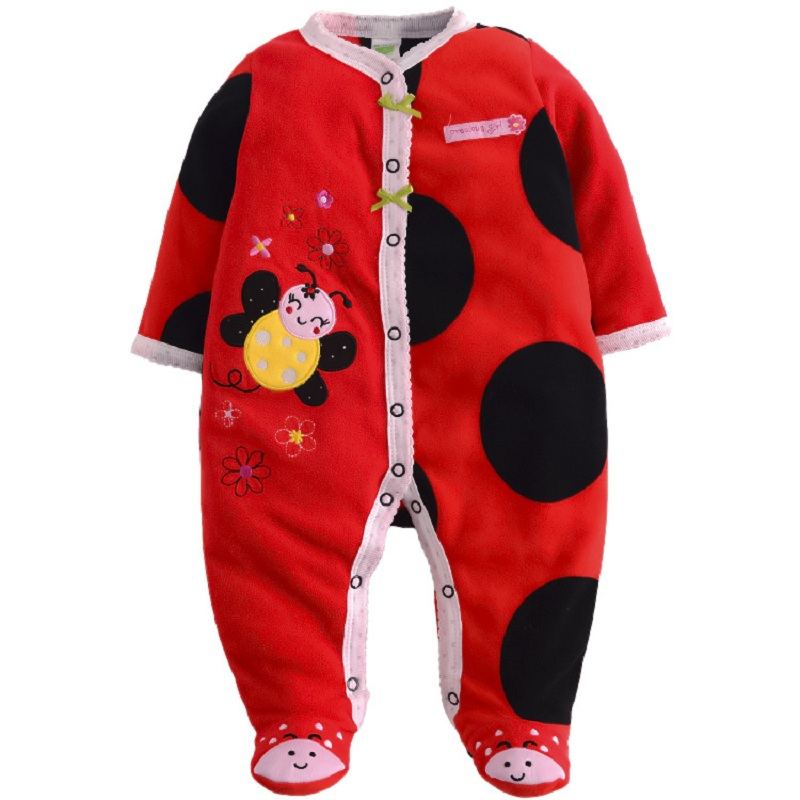 0 12M Baby Boy Rompers Baby Rompers Long Sleeves O Neck Fleece Stripe Baby Clothing Character Pattern in Rompers from Mother Kids