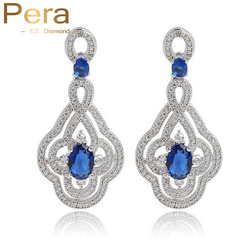 Simulated Sapphire Jewelry Cubic Zirconia Stone White Gold Plated Pave Long Royal Blue Bridal Wedding Earrings For Women E012