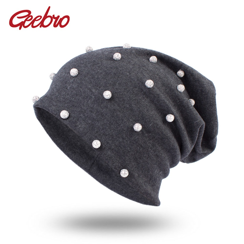 Geebro Women's Silver Pearls Slouchy Beanie Hat Spring Casual Cotton Plain Color Beanies for Women Ladies Rhinestones Skullies