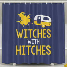 Witches With Hitches Camping Shower Curtain Fabric SetChina