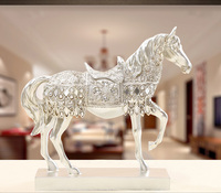 resin Europe Retro silver horse artcraft 28x8x27cm ornaments,furnishings office desk decoration birthday gift a2392