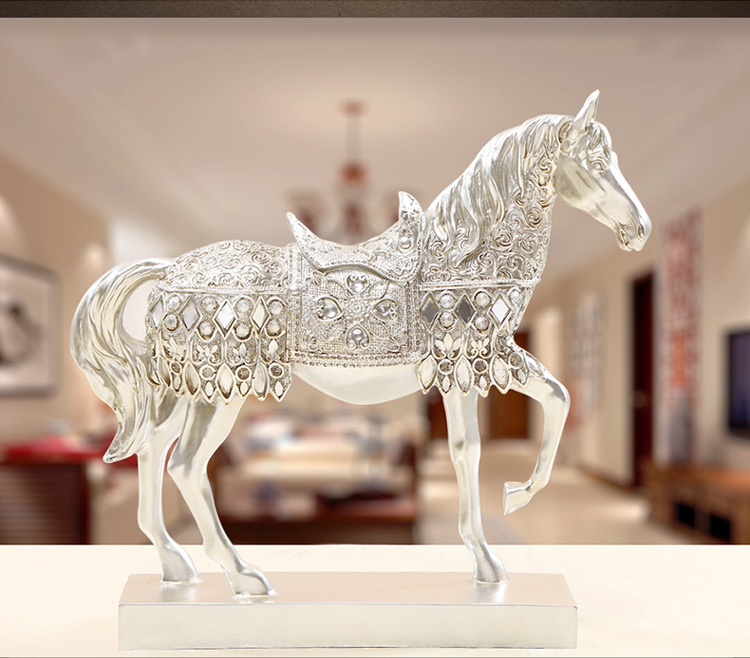 resin Europe Retro silver horse artcraft 28x8x27cm ornaments,furnishings office desk decoration birthday gift a2392