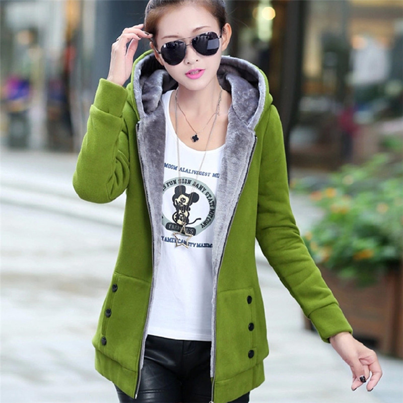 Winter Thick Fleece Warm Jacket Women Fashion Outwear Zip Up Hoodies Sweatshirts Long Sleeve Hooded Hoody Coat Button Pockets