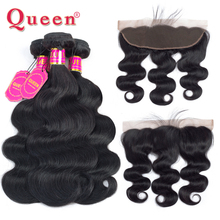 Queen Hair Products Malaysian Body Wave Human Hair 3/4 Bundles With Frontal Closure Remy Hair Extension Bundles With Closure