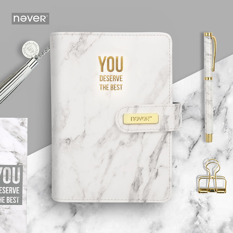 Never Marble Series PU Leather Cover Binder Notebook Diary Agenda A6 Planner Organizer Office School Supplies