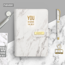 Never Marble Series PU Leather Cover Binder Notebook Diary Agenda A6 Planner Organizer Office & School Supplies Gift Stationery a5 a6 exquisite macaron pu leather spiral notebook original office binder planner agenda organizer cute ring diary stationery