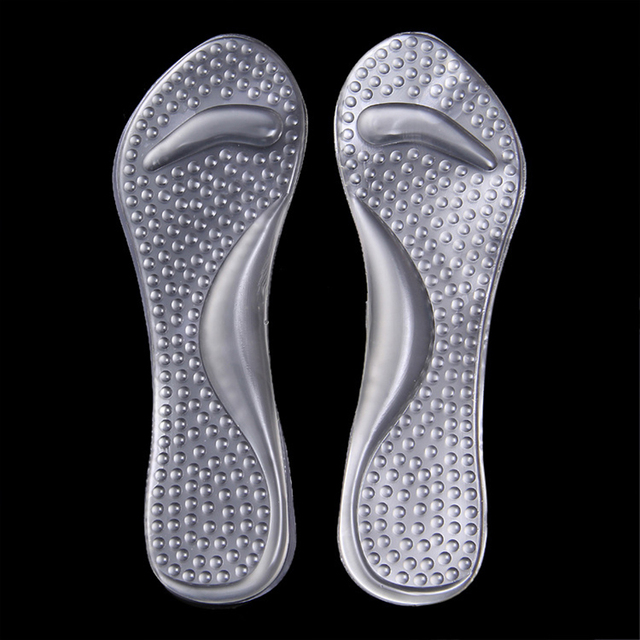 100 Pairs/lot Soft Gel Arch Support Cushion Non-slip Insole Silicone 3/4 Shoe Insert Pad Anti-shock Massage Pad Foot Care