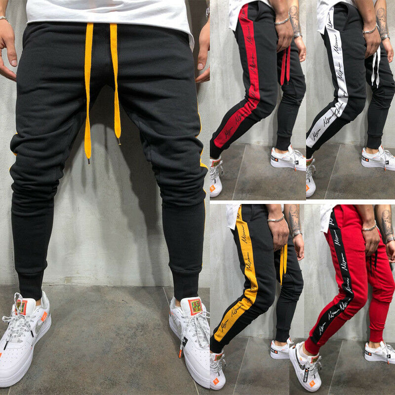 2019 Newest Fashion  Men's Long Pants Boy Gym Joggers Sports Sweatpants Skinny Tracksuit Trousers