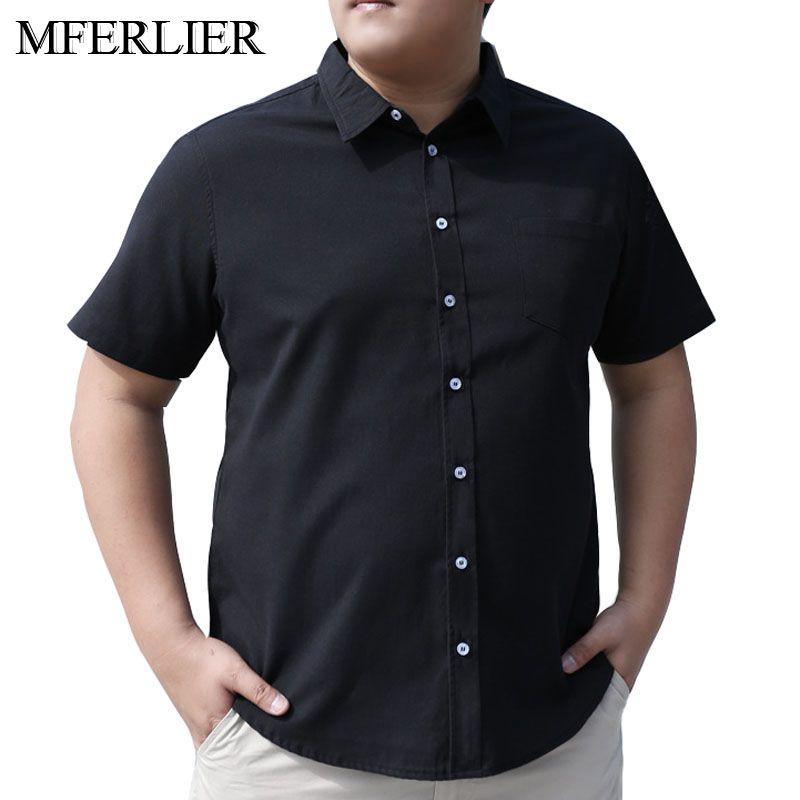 MFERLIER Summer Shirt Men Plus Size 5XL 6XL 7XL 8XL 9XL 10XL Bust 168cm Plus Zize Short Sleeve 4 Colors Large Size Shirts