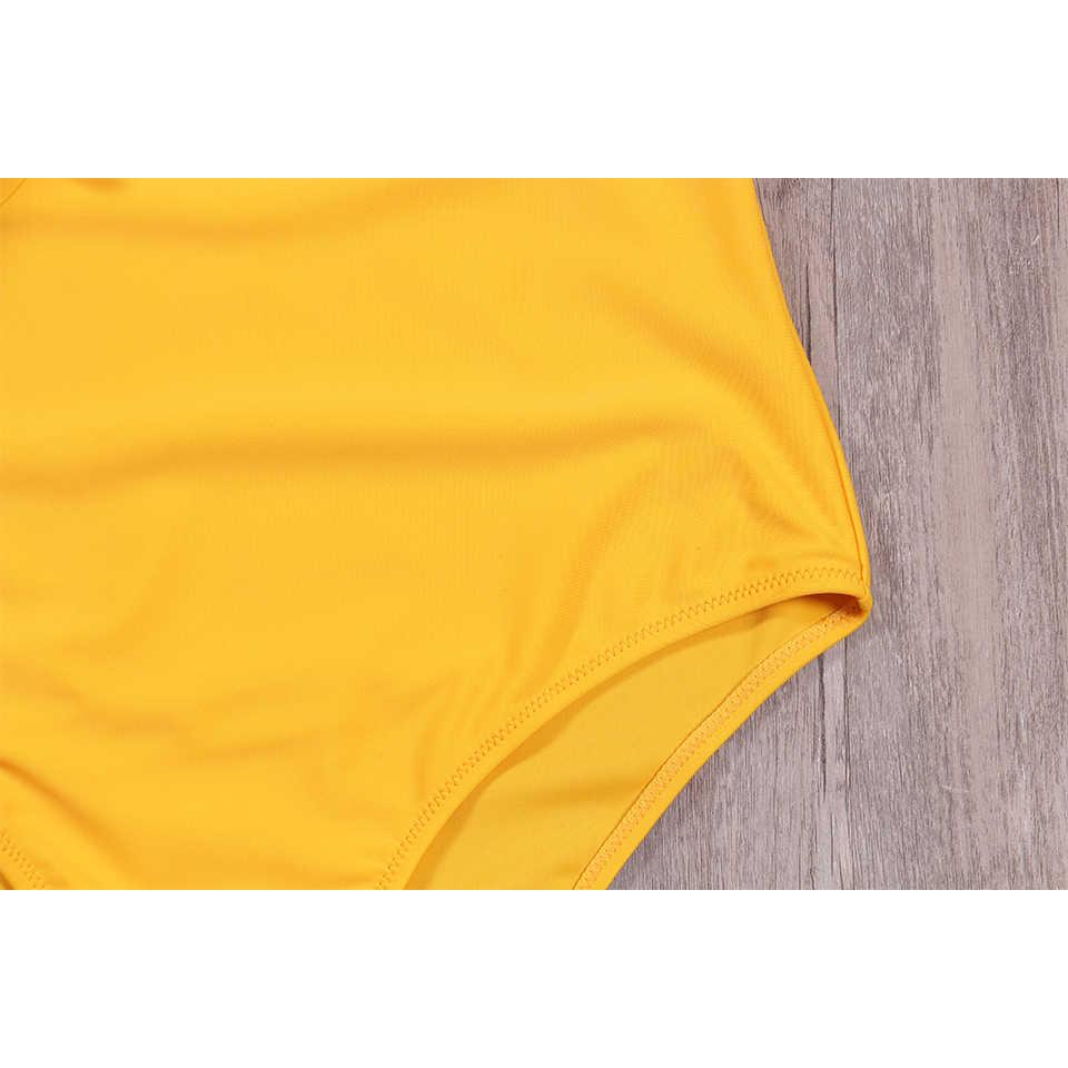 NAKIAEOI 2019 żółty stałe jednoczęściowy strój kąpielowy Falbala V neck wzburzyć Sexy Monokini 2019 panie plaża stroje kąpielowe S ~ XL