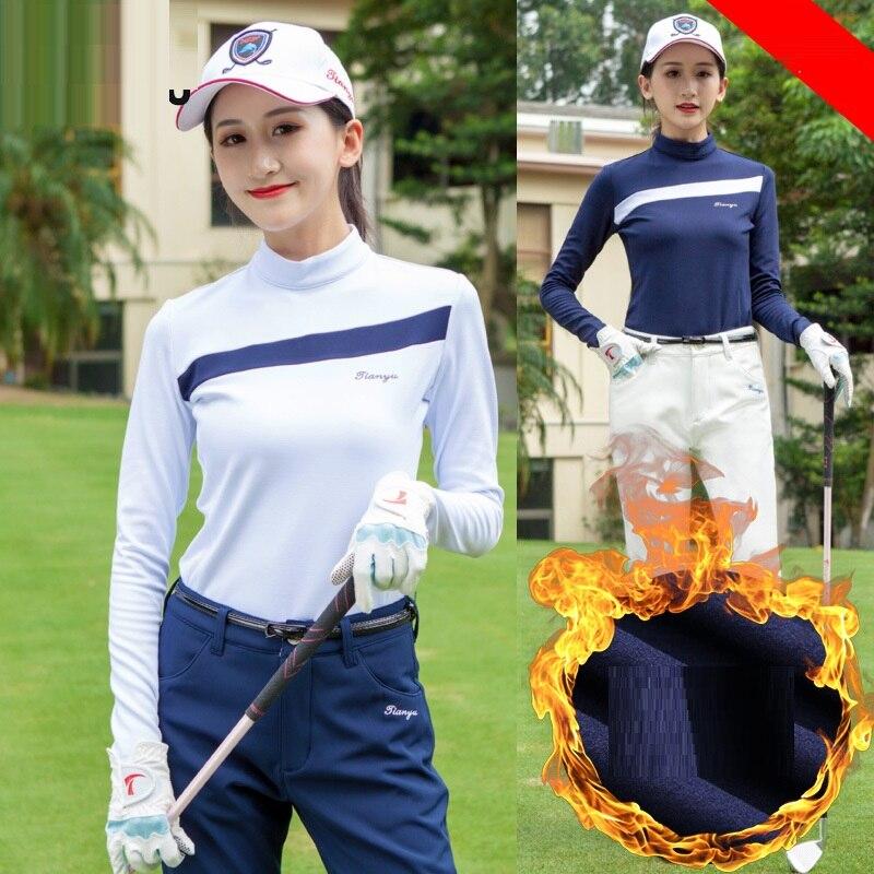 Roupas de Golfe para Mulheres de lã Grossa Longo-manga Comprida T-shirt Feminina Outono Inverno Gola Bem Aderentes Golfe Quentes Sportwear 2019