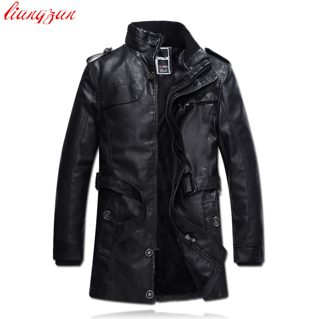 Men PU Leather Jacket Winter Snow Warm Fleece Casual Motorcycle Coats Male Brand Slim Fit Trench Coats Jaqueta De Couro  SL-E454