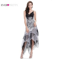 Sexy Cocktail Dress Women Long Spaghetti V Neck Black White Lace Empire Ever Pretty EP6212B Sparkling Plus Size Cocktail Dresses