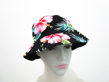 Free Shipping 2017 Black Colorful Floral Print Bucket Hats Floral Fishing Caps For Women/Ladies/Mens