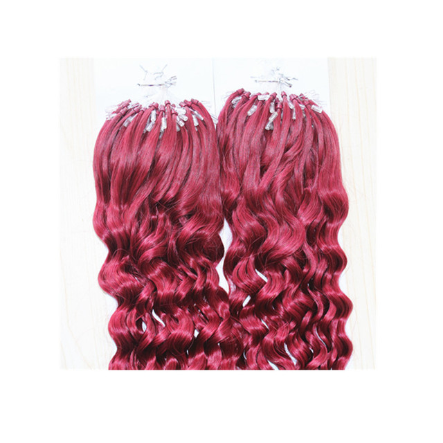 Bright Wine Red Micro Ringbead Loop Hair Extension Quality Burgundy