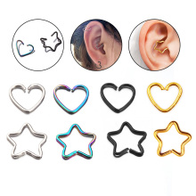 Sellsets 4st / lot Kirurgisk Stål 20Gx10mm Tiny Star And Heart Hoop Örhängen Lobe Daith Smycken Helix Piercing Brusk Örhängen