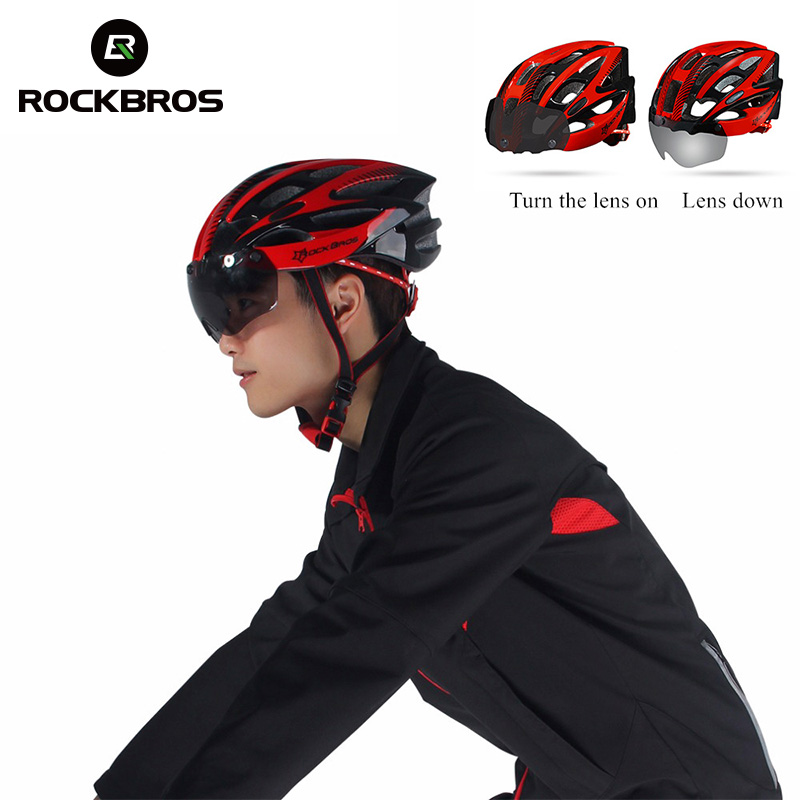 ROCKBROS Cycling Helmet Ultralight Comfortable Breathable Withe Safety Sunglasses Lens Bike Helmet Adjustable Riding Men Helmet rockbros men
