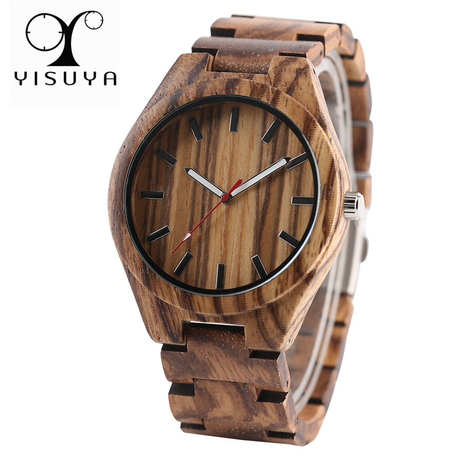 Nature Zebra Wood Women Creative Watches Simple Full Wooden Bangle Casual Wristwatch Men Bamboo Handmade Clock Gift Box 2017 New