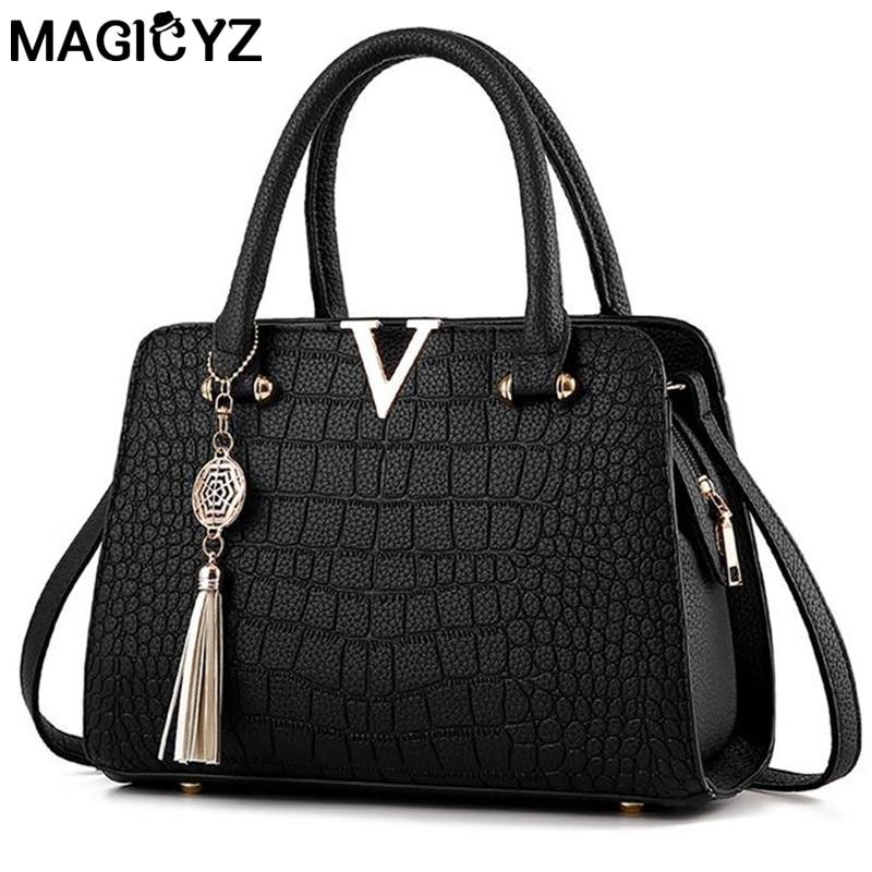 De luxe de Crocodile en cuir femmes sacs à main Célèbre marques designer femmes messenger sacs femme d'épaule à franges sac pochette de femmes