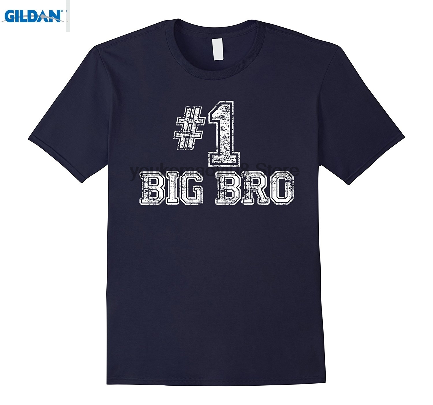 GILDAN 100% cotton o-neck custom printed T shirt 1 Big Bro T Shirt Number One Fathers Day Gift Tee