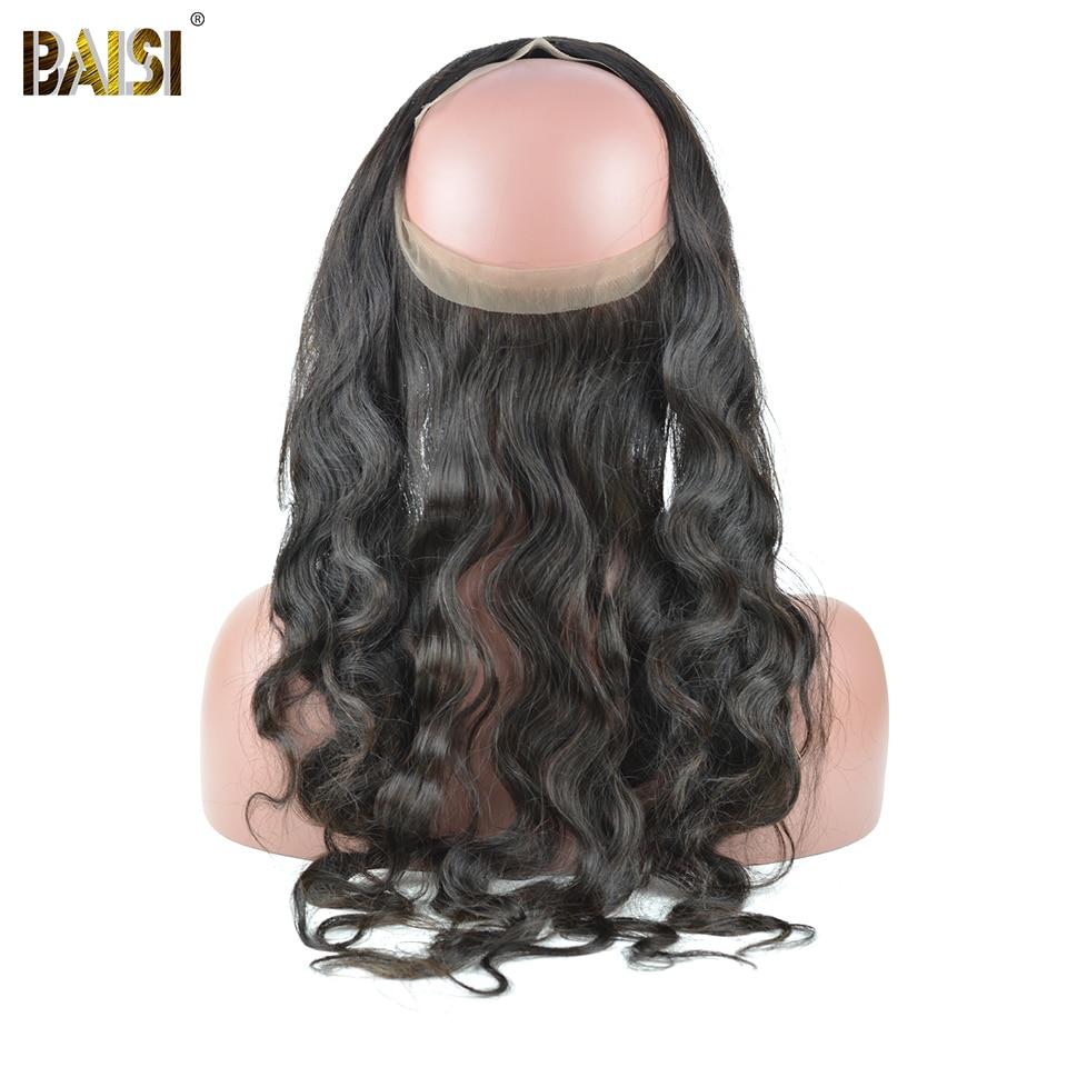 BAISI Body Wave Brazil 360 Lace Frontal 100% Hair Remy Hair Hairline - Rambut manusia (untuk hitam) - Foto 1