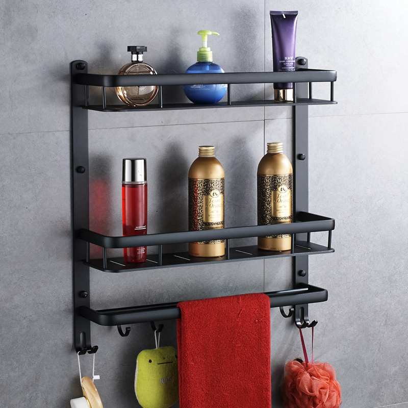 Black Bathroom Shelf 40cm Length Aluminum Bathroom Corner Shelf Bathroom Holder Shower Room Basket Bathroom Accessories Sj16 shelf