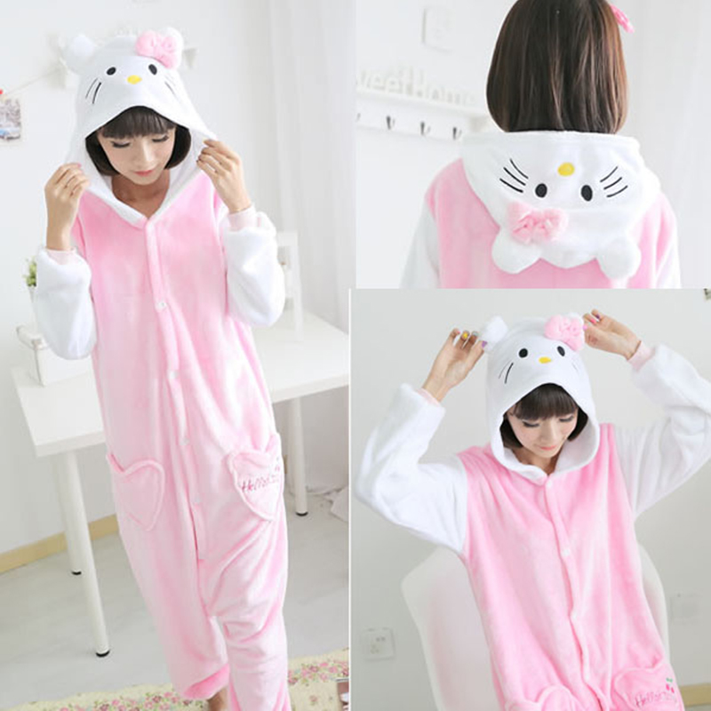 b3b66a6e7116 Unisex Cute Kitty Cat Pajamas sets Animal Cat Hoodie casual Onesies ...