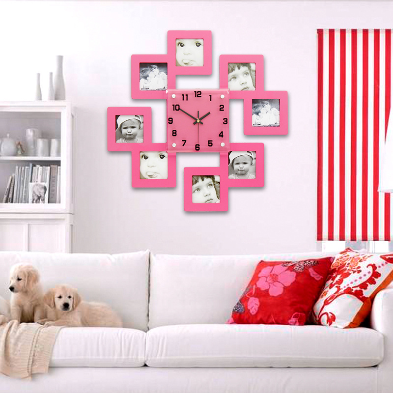 Wooden Photo Frame Wall Clock for Baby Room JJT M1001 47*47Cm-in ...
