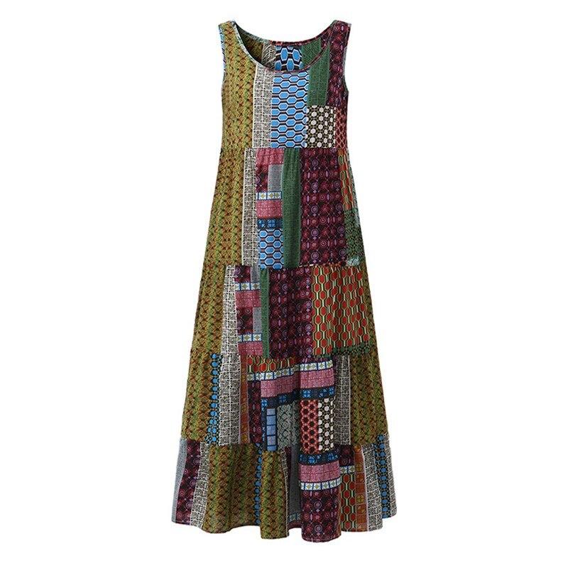 SCHMICKER Women 2018 Summer Long Beach Sundress Boho Plus Size 5XL Casual Loose Sleeveless Patchwork Print Irregular Tank Dress