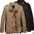 Nuevo 2016 del otoño del Resorte venta caliente de los hombres de algodón Puro cultiva su capa de la manera de la solapa de la chaqueta de la capa caliente Barato venta al por mayor
