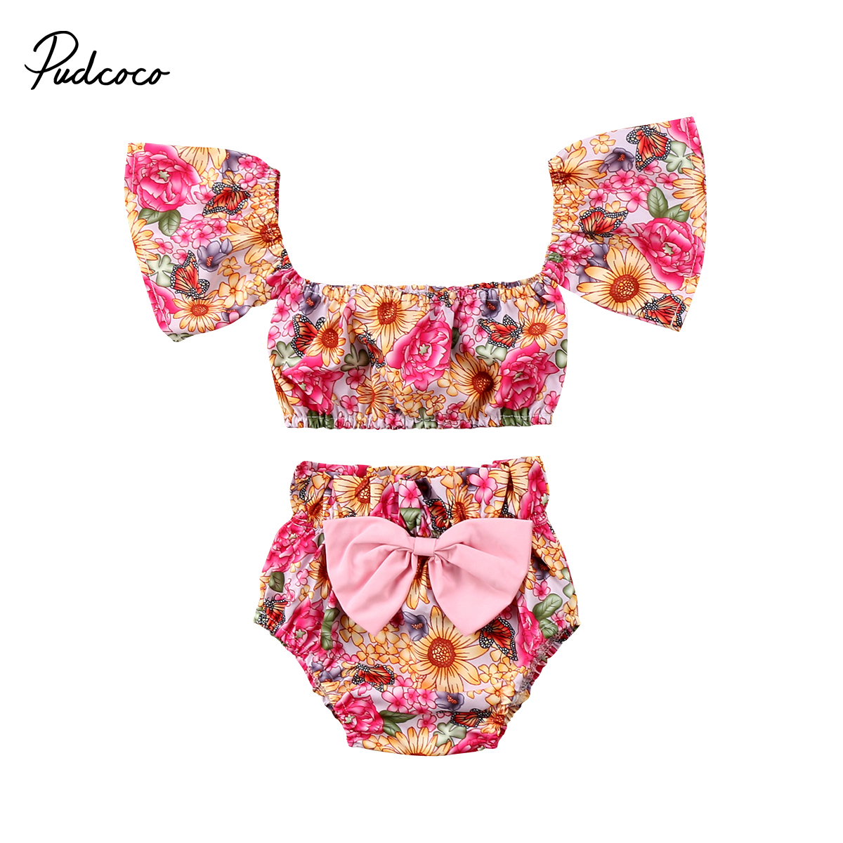 Pudcoco Newborn Baby Girls Clothes Floral Off shoulder Crop Tops T shirt+Bowknot Shorts Outfits Summer Infant Girl Clothing
