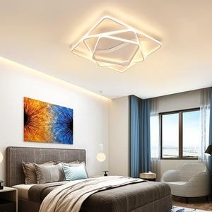 Image 3 - Modern led Chandelier for Living room Bedroom Aluminum Wave Rectangle circle lustre Chandelier Lightin high ceiling Chandelers