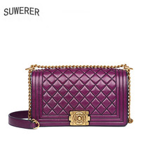 SUWERER Women Genuine Leather bags 2019 New fashion luxury handbags women Embossed Flowers bag women leather shoulder handbags недорого