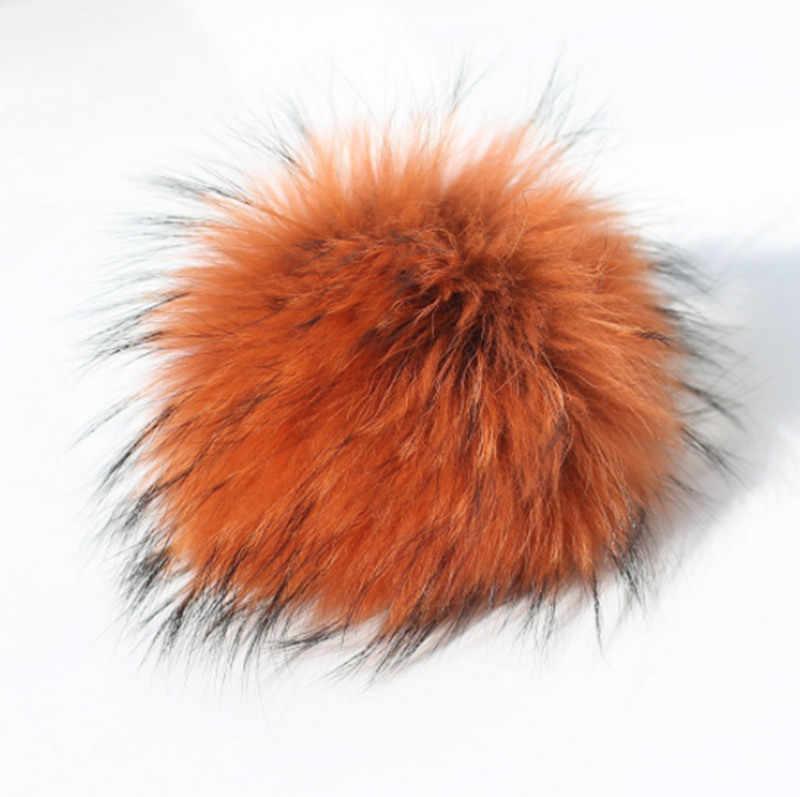 12 centímetros guaxinim pompom chaveiro colorido bola Fluffy pele real bolsa chaveiro/pingente de celular Kc95189