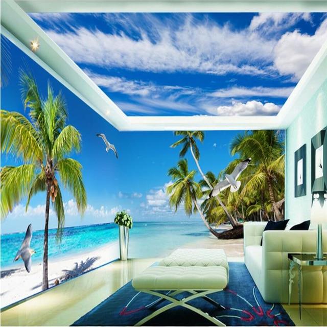 beibehang beautiful beach whole house 3d photo wallpaper