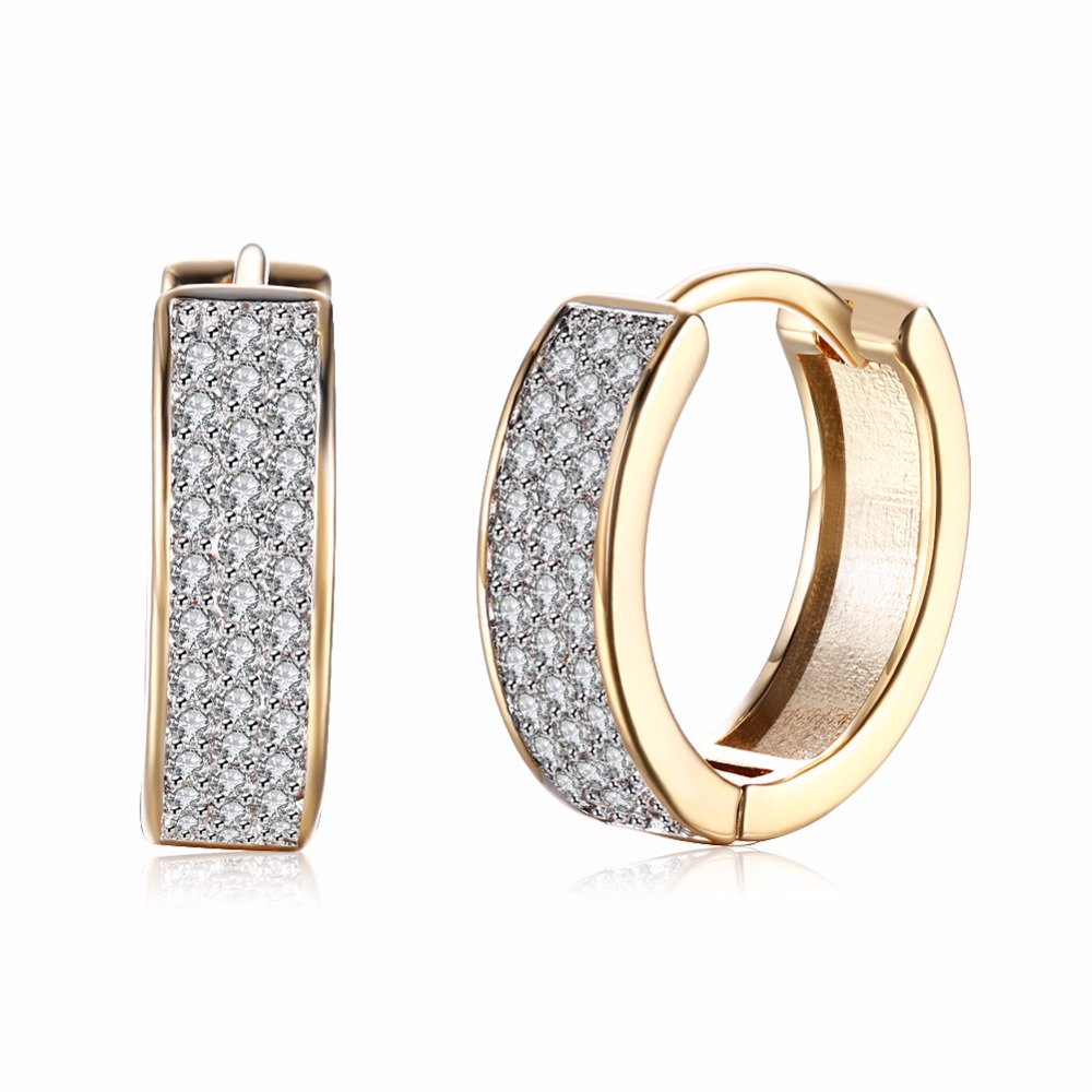 MEEKCAT High-quality New 2017 Gold-color White Crystals Zircon Hoop Earrings Hollow Out Wedding Jewelry
