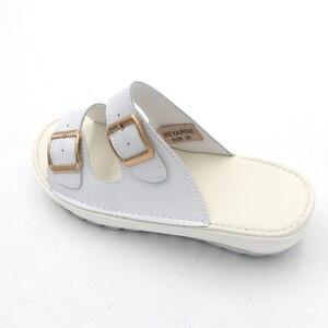Image 5 - BEYARNE Komfortable frauen sandalen neue mode aus echtem leder schuhe frauen slip auf schuhe sommer frauen offene spitze strand sandalen