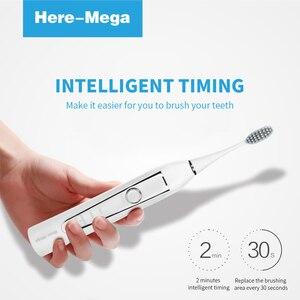 Image 5 - HERE MEGA Elektrische Sonic Tandenborstel Usb Oplaadbare Elektronische Automatische Reiniging Borstelkop Ultra Sonic Whitening Tanden Volwassen