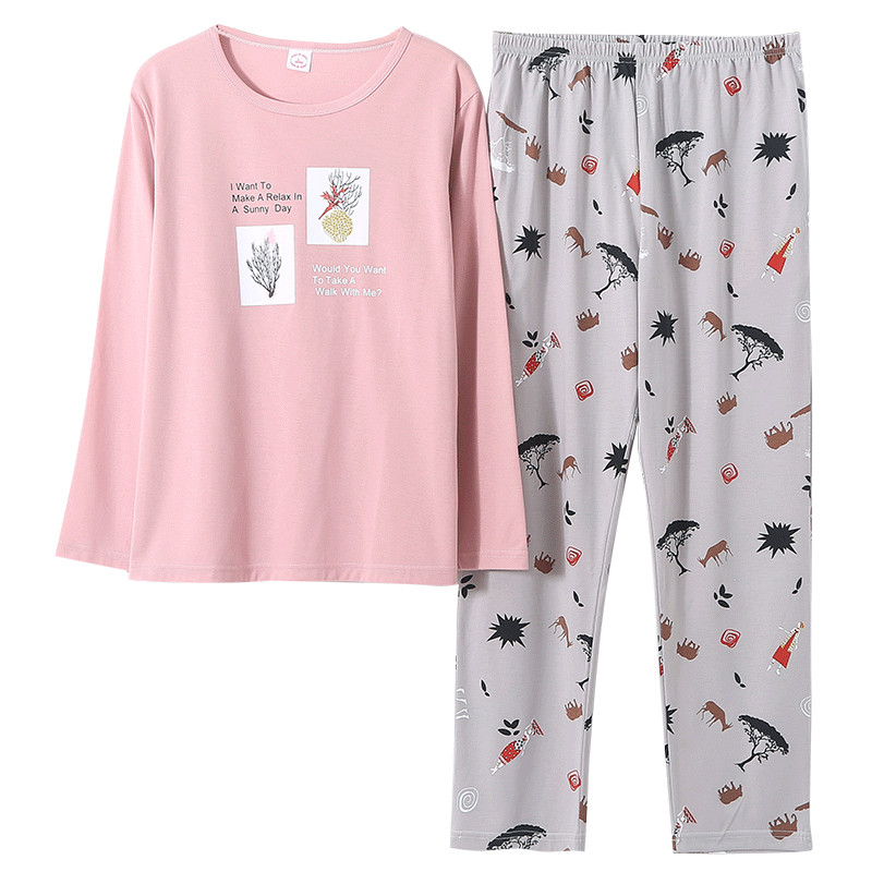 Autumn 100%Cotton Floral Women's Long Sleeve Pajamas Set Round Neck Leisure Loose Warm Plus Size M-5XL Female Clothes Sleepwear